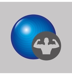 Fitness silhouette blue ball gym graphic vector