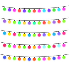 five garlands with multi-colored light bulbs vector image