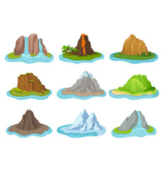 flat set of mountains and waterfalls small vector image