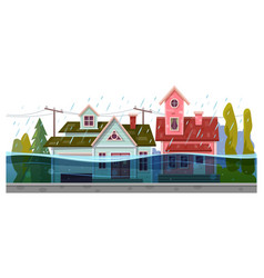 flood and houses rain storm natural disaster vector image