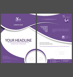 flyer template with abstract violet shapes vector image
