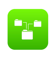 folders structure icon digital green vector image