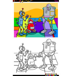 Funny robot characters group coloring book vector