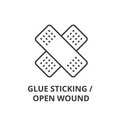 Glue sticking open wound thin line icon sign vector