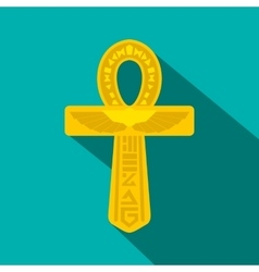 Gold Ankh Egypt icon flat style vector image