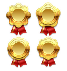 gold banners with red ribbons vector image