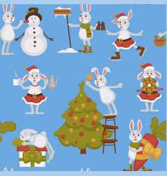 Happy new year bunny decorating christmas tree vector