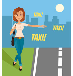 Happy smiling woman tries catch taxi car vector