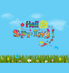 hello spring cartoon with beautiful meadow vector image