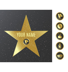 Hollywood walk fame star icons set realistic vector