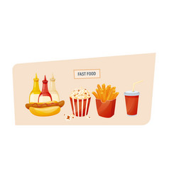 Hot hot dog with different sauces popcorn potato vector
