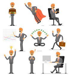 Indian businessman character isolated set vector