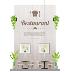 Interior background with modern restaurant vector