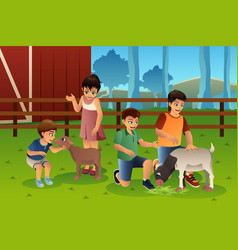 Kids in a petting zoo vector