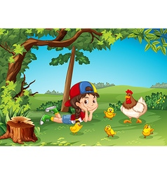 Little girl being with chickens vector