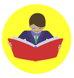 Man reading open book vector