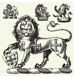 Medieval lions vector