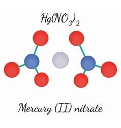 Mercury II nitrate HgN2O6 molecule vector