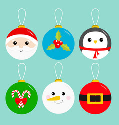 merry christmas ball toy hanging icon set tree vector image