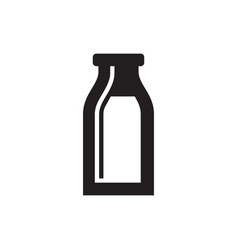 milk bottle - black icon on white background vector image
