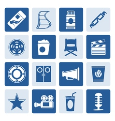 One tone Simple Cinema and Movie Icons vector image