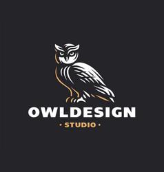 owl logo- emblem design vector image