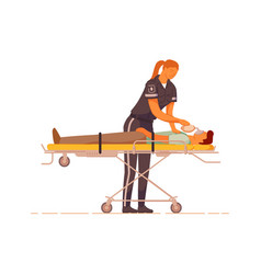 Paramedic provide first aid reanimation to patient vector