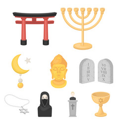 Religion set icons in cartoon style big vector