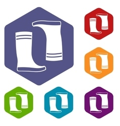 Rubber boots icons set vector