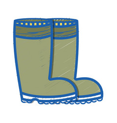 Rubber boots object to protection feet vector