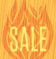 sale fire wooden planks background vector image