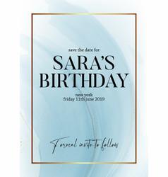 save date birthday party design liquid flow vector image