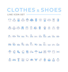 set color icons clothes shoes and accessories vector image