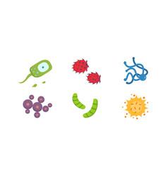 set colorful viruses bacteria vector image