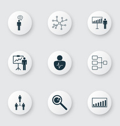 set of 9 board icons includes project vector image