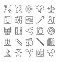 set of chemical outline icons chemistry vector image