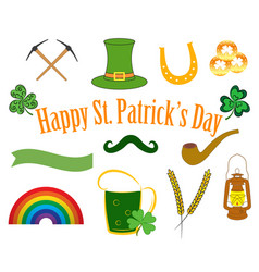 set of patrick day elements vector image