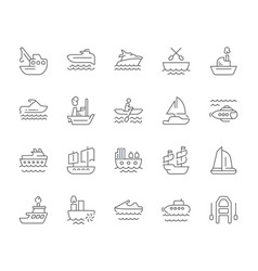 Set simple icons maritime transport vector
