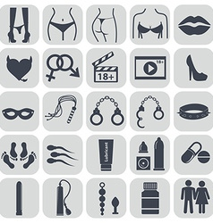 Sex icons set symbol xxx vector image