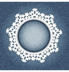 Snowflake lace jeans vector image