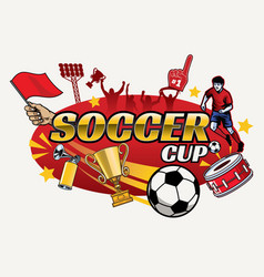 soccer cup design with separated objects vector image