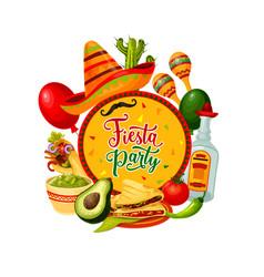 Sombrero tequila maracas mexican cinco de mayo vector