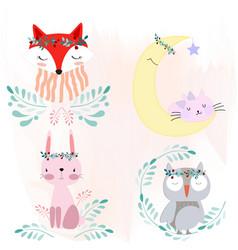 sticker of foxrabbitbearowl garden style vector image