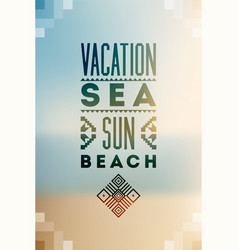 Summer time typographic blurry background poster vector