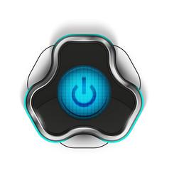 Techno futuristic start power button vector