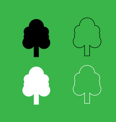 tree icon black and white color set vector image