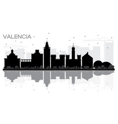 valencia spain city skyline black and white vector image