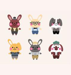vintage rabbit character set vector image