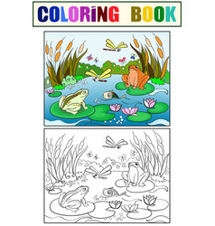 Wetland landscape with animals coloring for vector