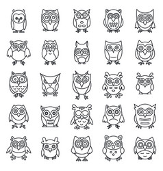 Wild owl icons set outline style vector